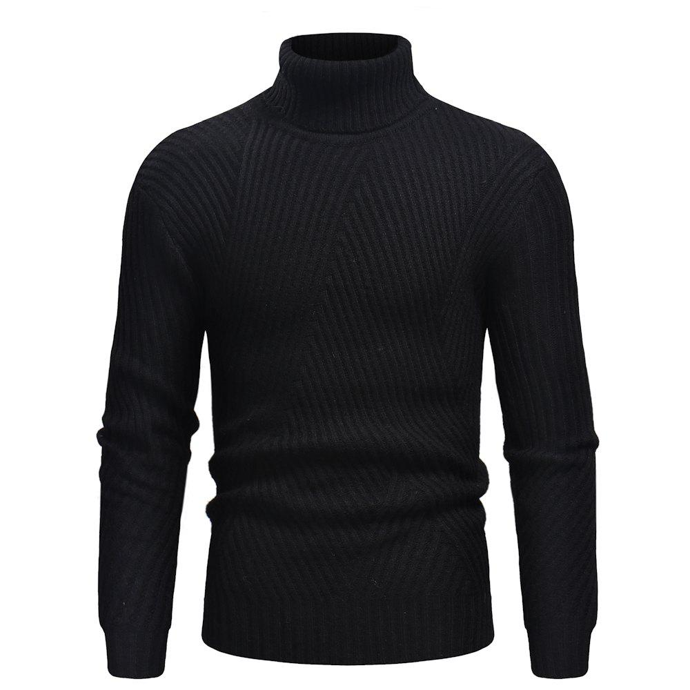 Hot 2018 Autumn and Winter New Men'S Casual High Collar Striped Sweater
