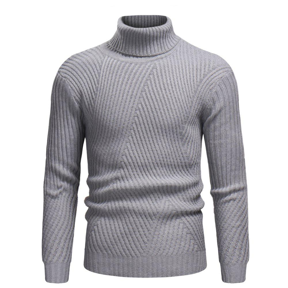 Buy 2018 Autumn and Winter New Men'S Casual High Collar Striped Sweater