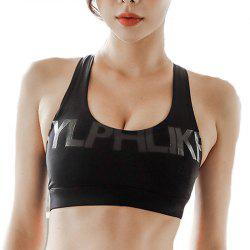 Shockproof Yoga Bra U Shape Neckline Letters Print Cross Straps Back Sports Bra -