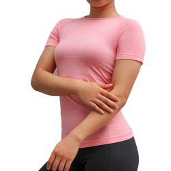 Women Sports T-Shirts O-Neck Undershirts Solid Color Gym Running Elastic Tees -