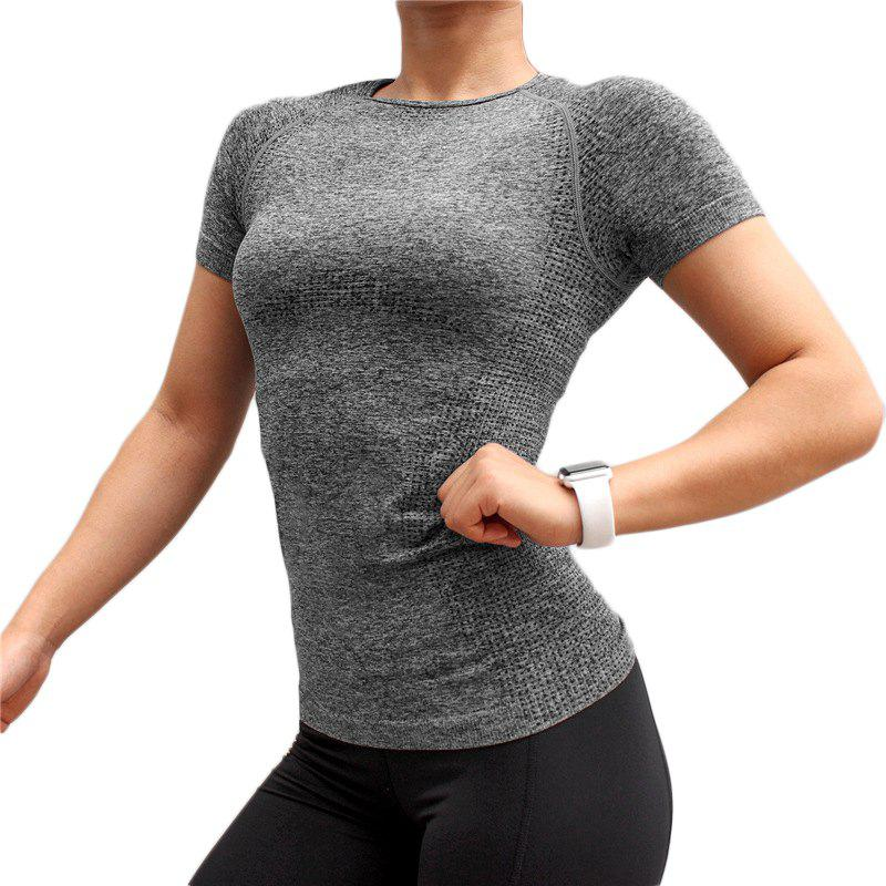 Online Women Sports T-Shirts O-Neck Undershirts Solid Color Gym Running Elastic Tees
