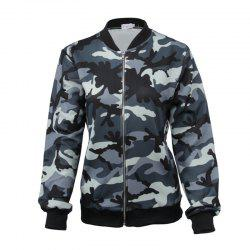 New Style Long Sleeve Slim Female Camouflage Outerwear Zipper Baseball Uniform -