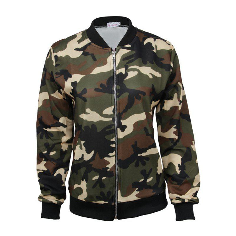 Best New Style Long Sleeve Slim Female Camouflage Outerwear Zipper Baseball Uniform