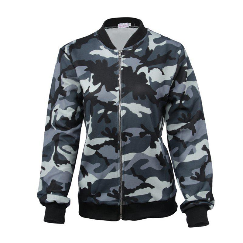 Unique New Style Long Sleeve Slim Female Camouflage Outerwear Zipper Baseball Uniform