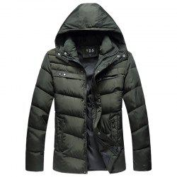 Winter New Men'S Solid Color Cotton Casual Hooded Jacket -