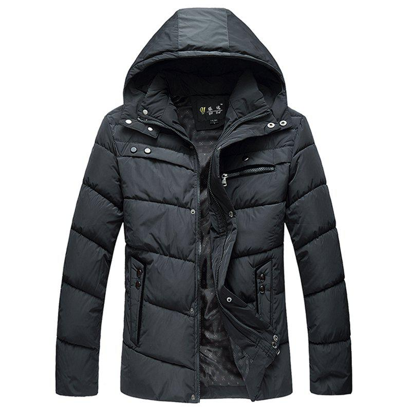 Best Winter New Men'S Solid Color Cotton Casual Hooded Jacket