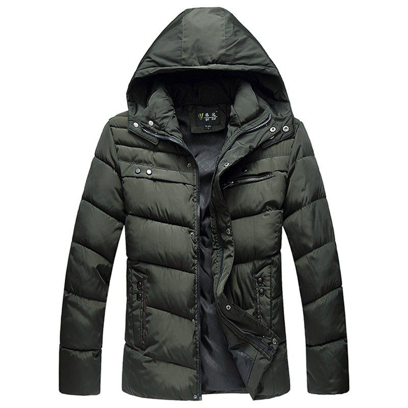 Outfit Winter New Men'S Solid Color Cotton Casual Hooded Jacket