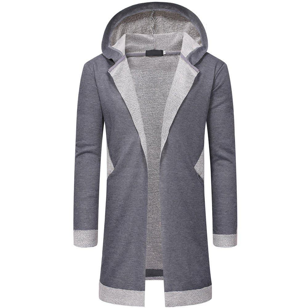 Outfits New  Long Style Men's Casual Cardigan Hooded Sweater Fashion Jacket
