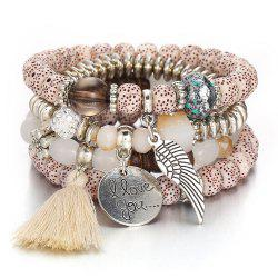 National Style Vintage Crystal Cat'S Eye Stone Bead Tassel Bracelet -