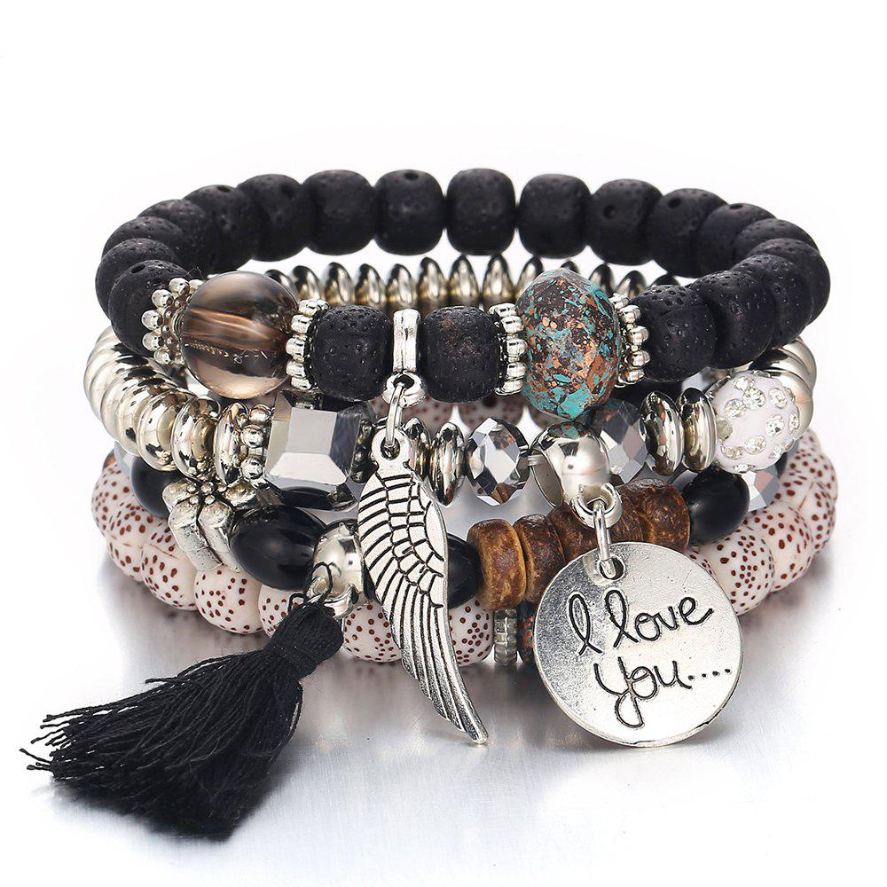Discount National Style Vintage Crystal Cat'S Eye Stone Bead Tassel Bracelet