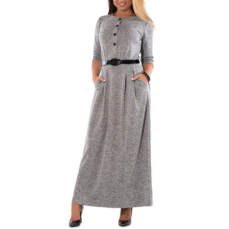 Trendy Big Size Women Sashes Maxi Dress With Buttons Long Sleeved For 2018 Autumn New