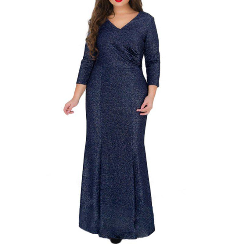 Discount Winter Long Dress Women Autumn Large Big Size Evening Party Mermaid