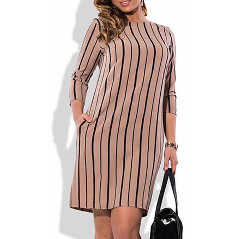 50% OFF] Women Fashion Plus Size Elegant Striped Dress Summer Big ...
