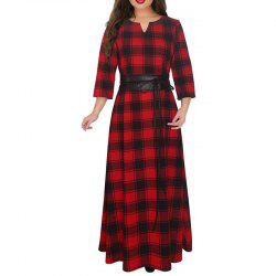 2018 New Red Plaid Long Dress Plus Size 5XL 6XL Women Winter Dress Big Size Maxi -
