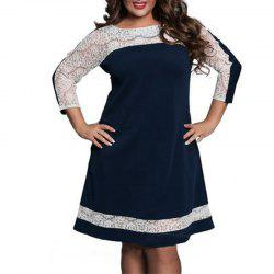 Plus Size Lace Patchwork Autumn Women Dress Fashion Long Sleeve New Dresses -