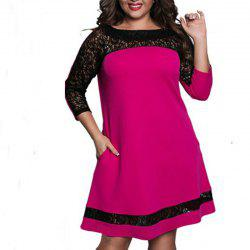 Plus Size Lace Patchwork Women Dress Fashion Long Sleeve New Dresses -