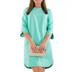 OLN Femme Robe Couleur Pure Femme Plus Grande Taille Mini Robe O Cou Court -