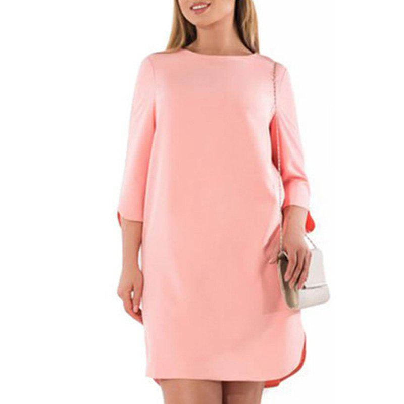 OLN Female Solid Color Dress Woman Plus Большой размер Mini Dress O Neck