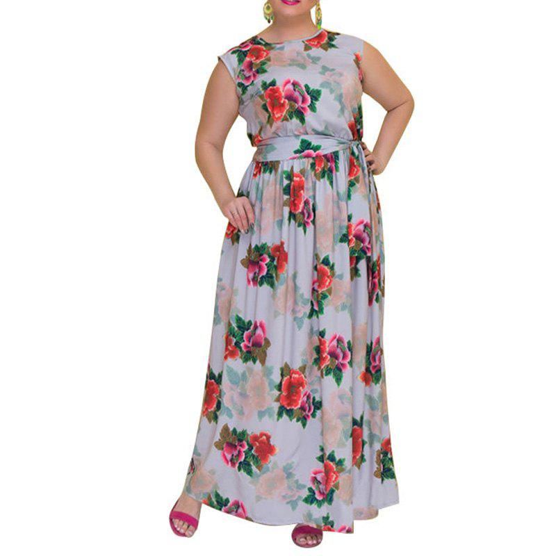 New 5XL 6XL Vintage Floral Printed Women Dress Long Floor Big Size 2018  Autumn - White - Xl 4ed473824337
