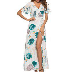 Women's V Collar Short Sleeve Printed Long Dress -
