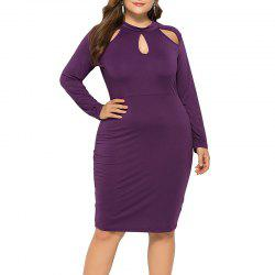 Sexy Solid Color Hollow Out Long Sleeve Package Hip Dress -