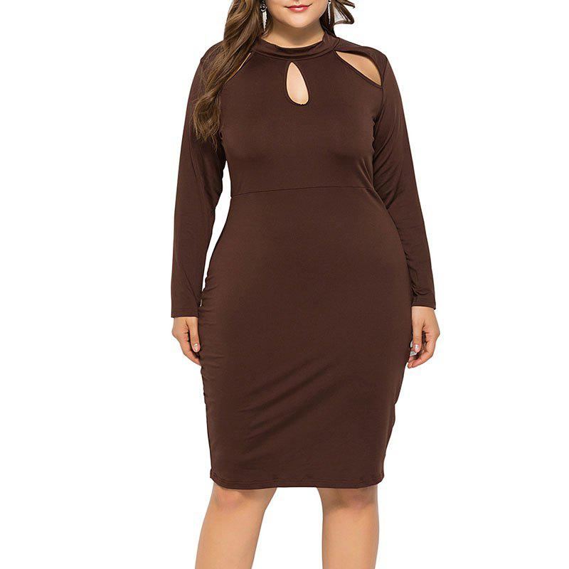 Sale Sexy Solid Color Hollow Out Long Sleeve Package Hip Dress