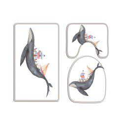 Whale Lighthouse Digital Printed Flannel Toilet Three-Piece -