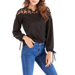 New V-Neck Lace Stitching Long-Sleeved Women's T-Shirt -