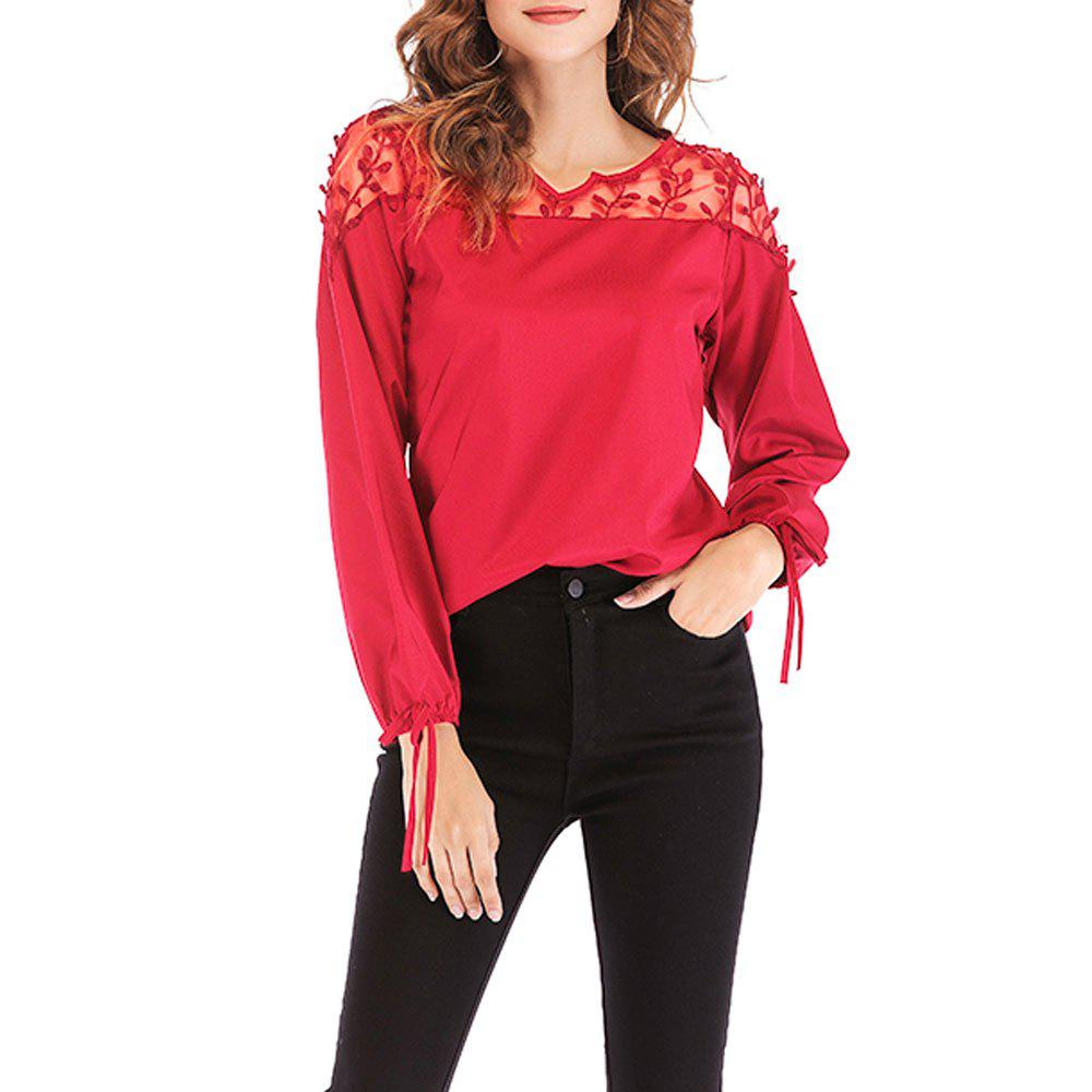 Discount New V-Neck Lace Stitching Long-Sleeved Women's T-Shirt