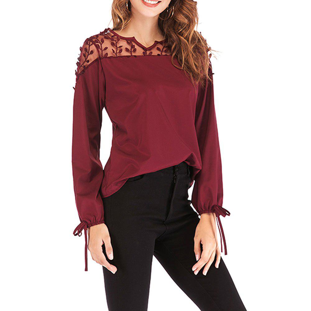 Outfit New V-Neck Lace Stitching Long-Sleeved Women's T-Shirt