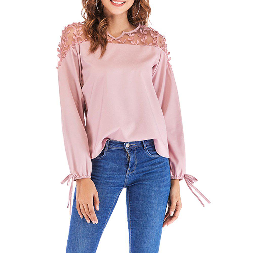 Store New V-Neck Lace Stitching Long-Sleeved Women's T-Shirt