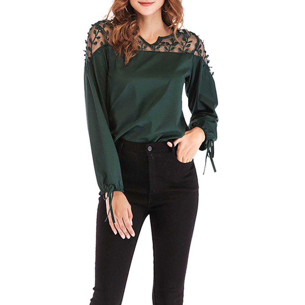 Buy New V-Neck Lace Stitching Long-Sleeved Women's T-Shirt