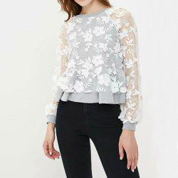 Round Neck Lace Perspective Long Sleeve Women's T-Shirt -