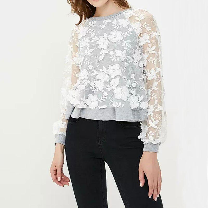 Cheap Round Neck Lace Perspective Long Sleeve Women's T-Shirt