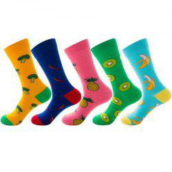 Funny Fruit Vegetable Pattern Print Long Socks 5 Pairs -