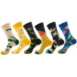 Christmas Socks Flower Bird Series Pattern Print 6 Pairs -