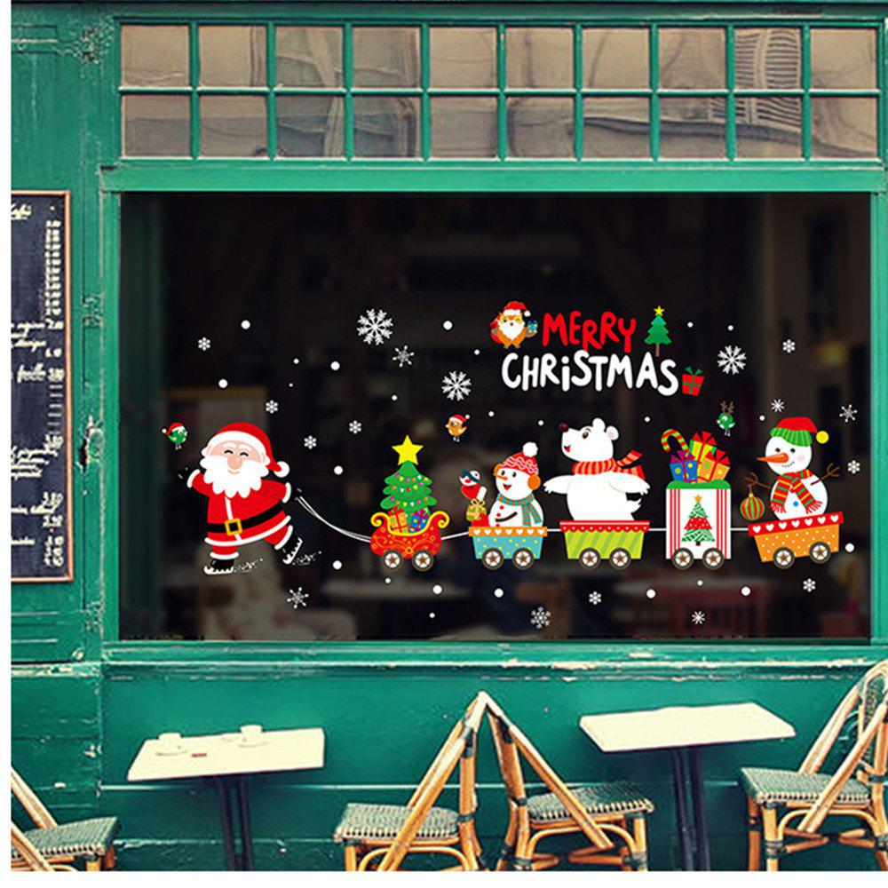 Merry Christmas Window Glass PVC Wall Sticker DIY Snow Town Wall Stickers