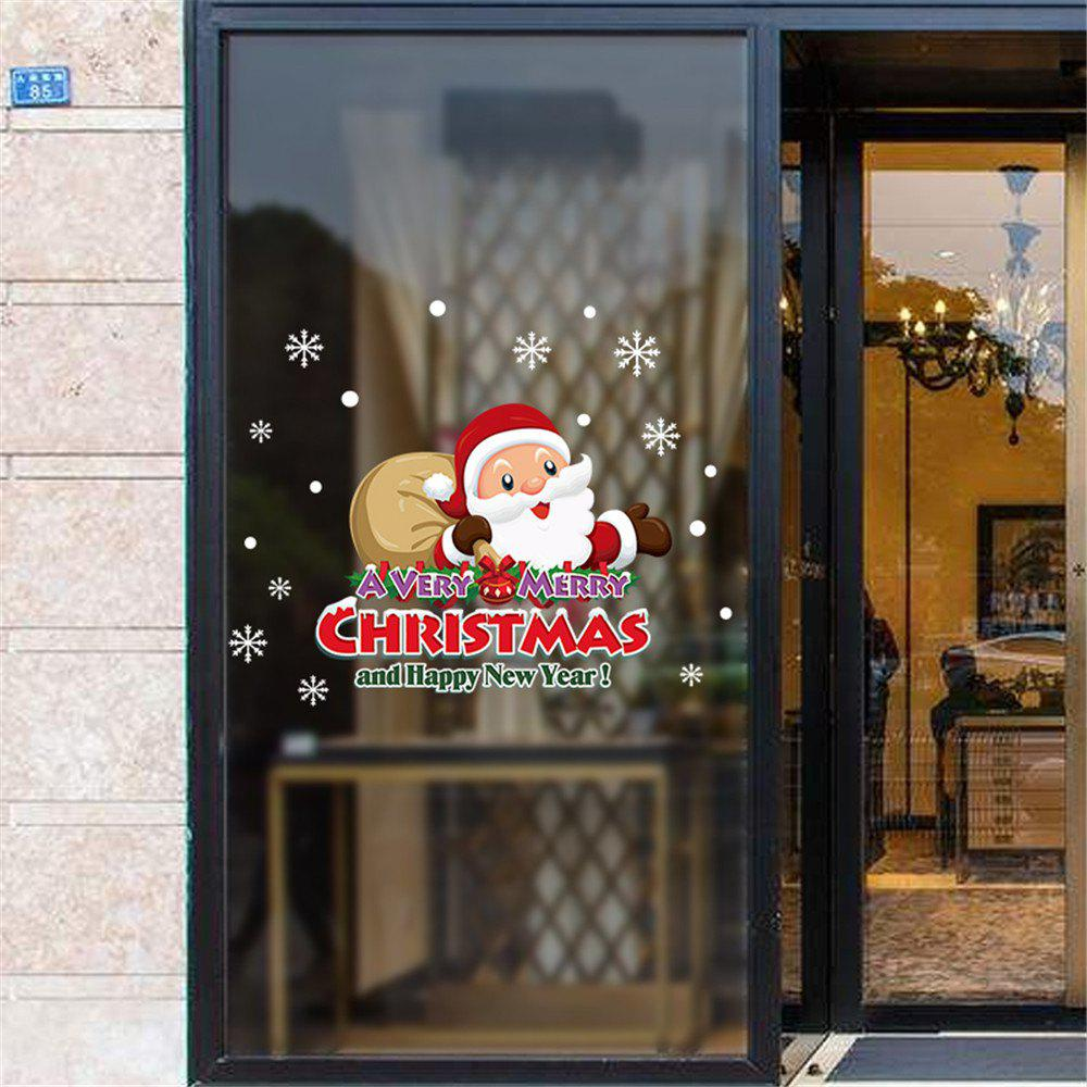 Happy New Year Santa Claus Gift Wall Sticker Glass Window Sticker Removable