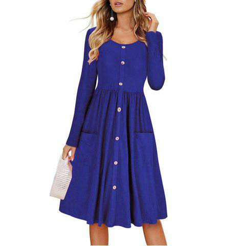 Women's Round Neck Solid Color Button Pocket Creases A-line Casual Dress