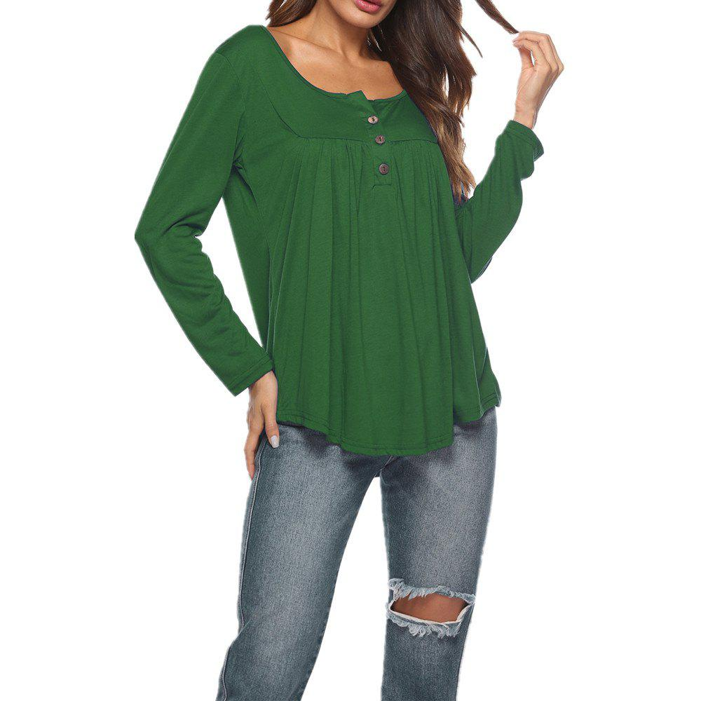 3e26c7ffea3063 Cheap Women's Round Neck Solid Color Casual Loose Long Sleeve Plus Size T-shirt  Tops