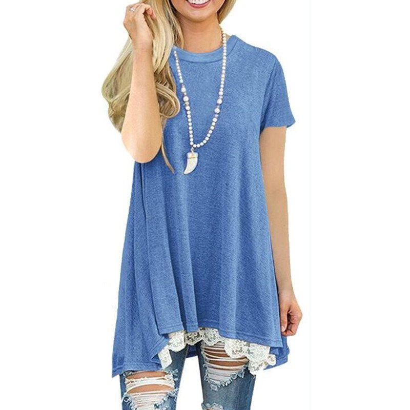 Chic Women's Solid Color Round Neck Lace Patchwork Big Swing Short Sleeve T-shirt