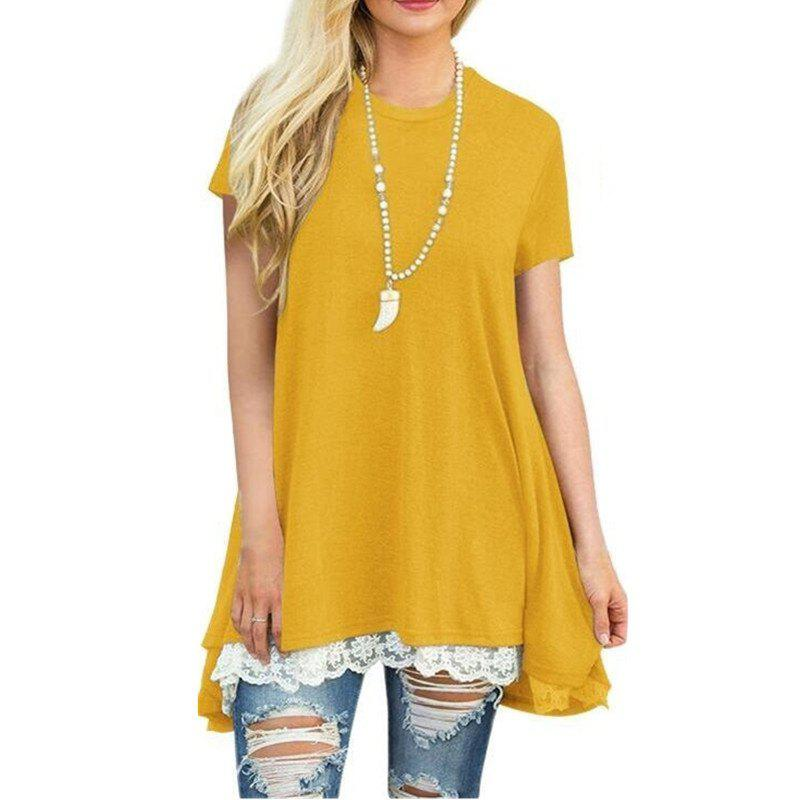 Online Women's Solid Color Round Neck Lace Patchwork Big Swing Short Sleeve T-shirt