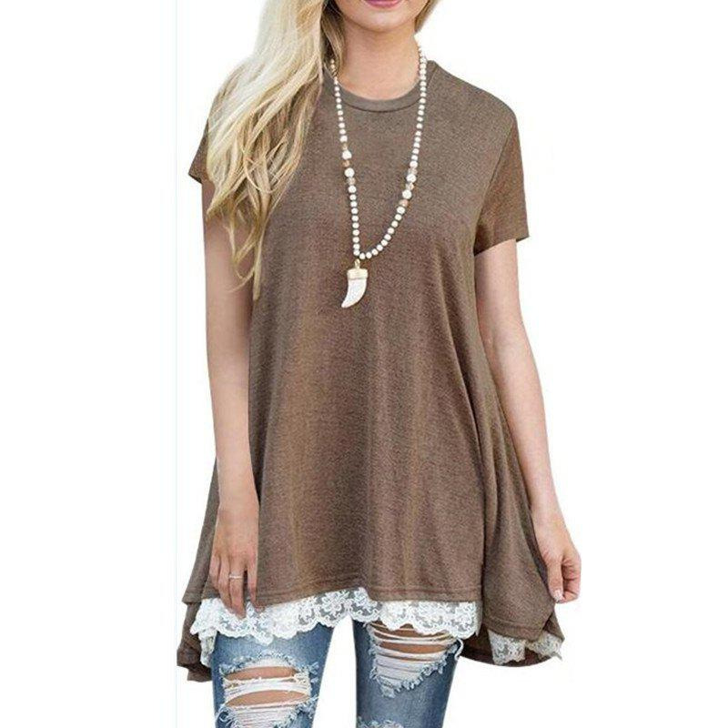 Store Women's Solid Color Round Neck Lace Patchwork Big Swing Short Sleeve T-shirt