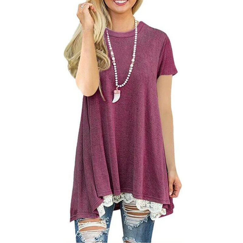 Outfits Women's Solid Color Round Neck Lace Patchwork Big Swing Short Sleeve T-shirt