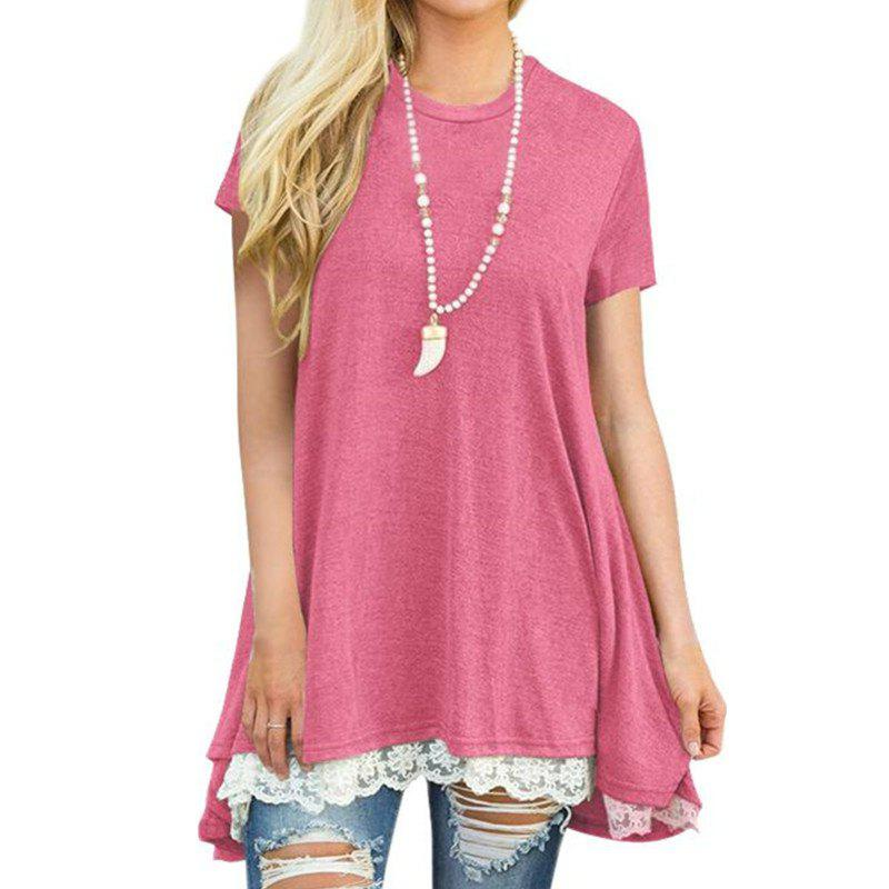 Shops Women's Solid Color Round Neck Lace Patchwork Big Swing Short Sleeve T-shirt