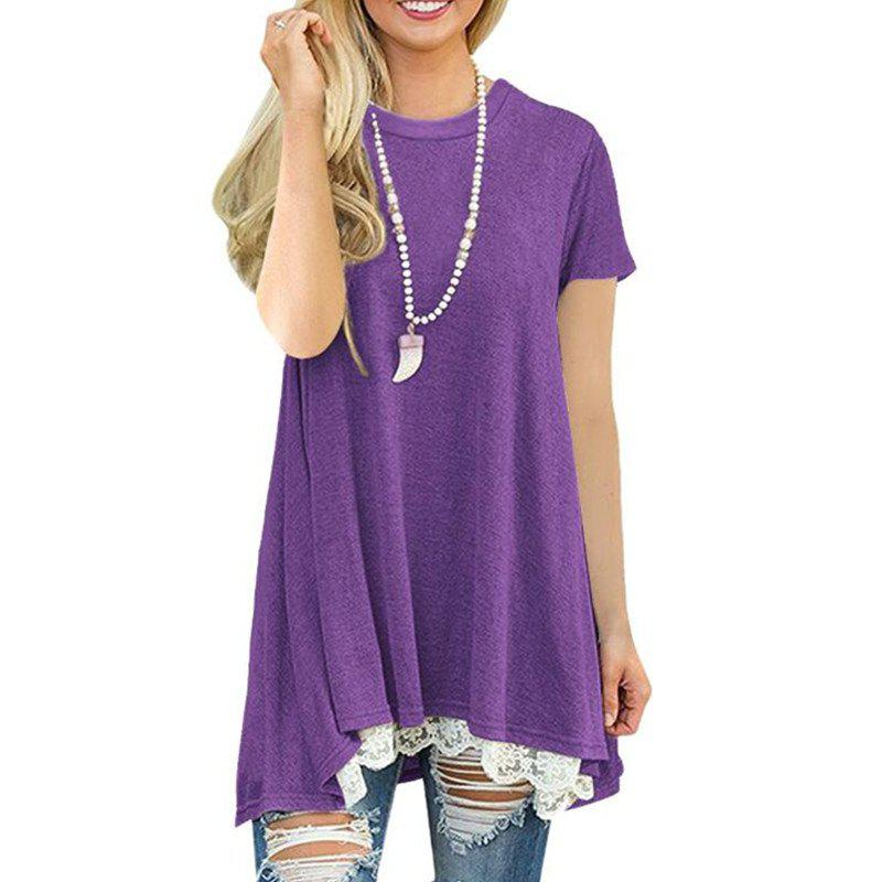 Sale Women's Solid Color Round Neck Lace Patchwork Big Swing Short Sleeve T-shirt