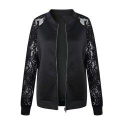 Women's Lace Patchwork Solid Color Long Sleeve Wild Jacket Short Coat -