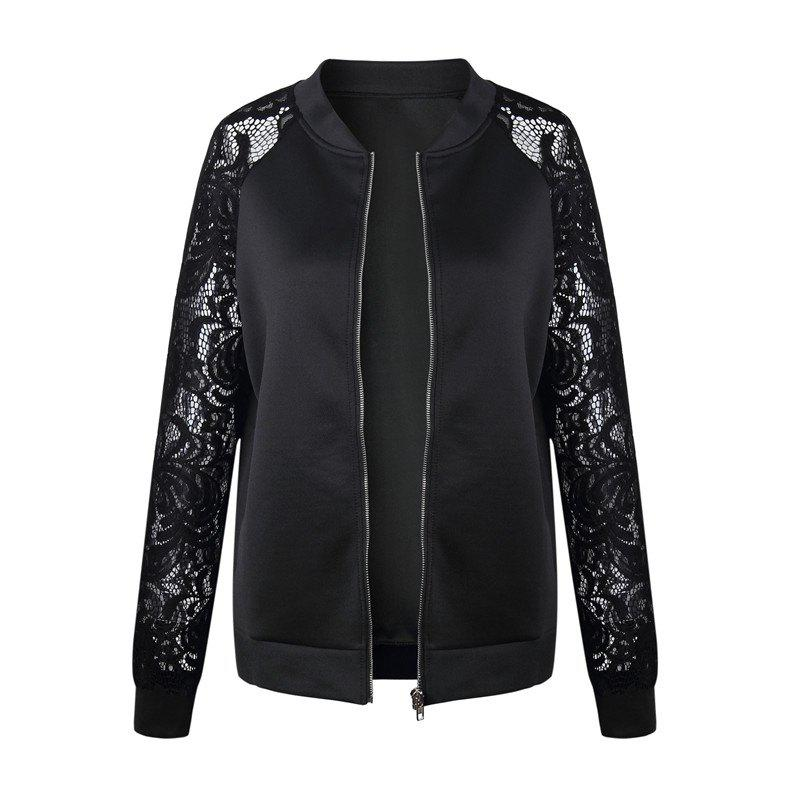 Chic Women's Lace Patchwork Solid Color Long Sleeve Wild Jacket Short Coat