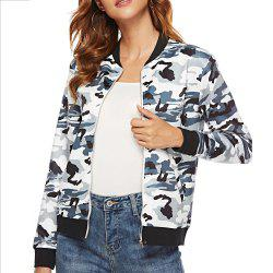 Casual Camouflage Print Long Sleeve Coat Plus Size Baseball Jacket -