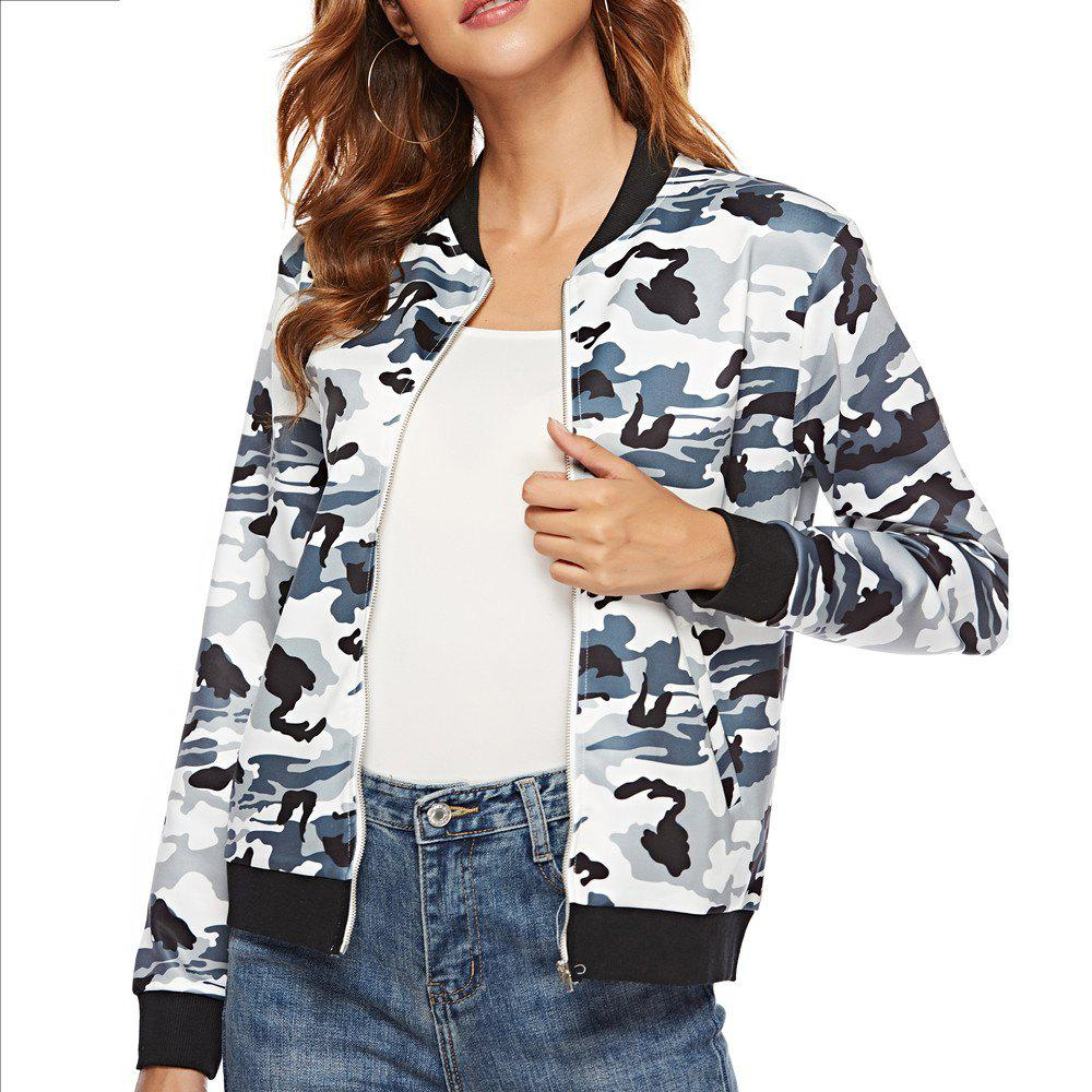 Online Casual Camouflage Print Long Sleeve Coat Plus Size Baseball Jacket